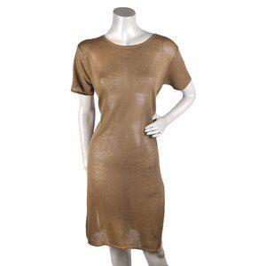 Calvin Klein 1990s Y2K Shift Dress Brown Linen L